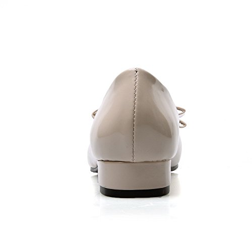 AllhqFashion Femme Tire Rond à Talon Bas Pu Cuir Couleur Unie Chaussures Légeres Beige