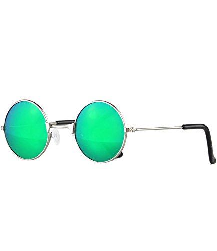Caripe Sonnenbrille Retro Vintage Kinder Mädchen Jungen verspiegelt - klubbakid (One Size, kid-round - silber matt - bluegreen verspiegelt-)