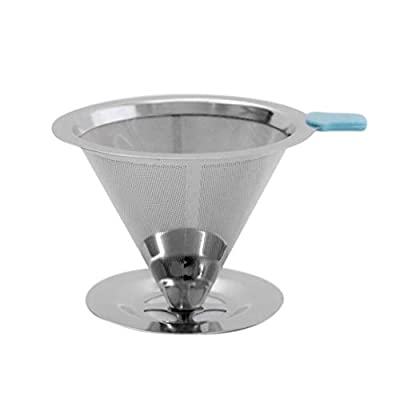 Swiftswan Stainless Steel Pour Over Coffee Dripper Slow Drip Coffee Filter Cone - Reusable Single Serve Coffee Maker