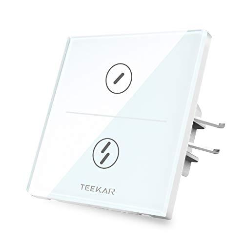 TEEKAR Touch Lichtschalter 2 Gang Alexa Lichtschalter WLAN WiFi Smart Intelligente Schalter Kompatibel Mit Google Home/IFTTT,Drahtlose Fernbedienung,Timing-Funktion (2 Gang-schalter)