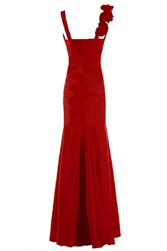 Sunvary formale in raso con scollo a V abito da sera, con scritta Mother of the Bride, Rufffles Red