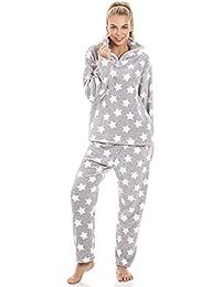 Camille Pijama de Forro Polar Aterciopelado - Estampado de Estrellas Blancas - Gris