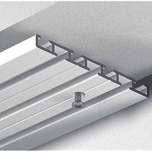 Gardineum 1.80 m Gardinenstange, Vorhangschiene, alle Längen bis 4,60 m möglich, Aluminium, alu-Silber, 3-läufig vorgebohrt