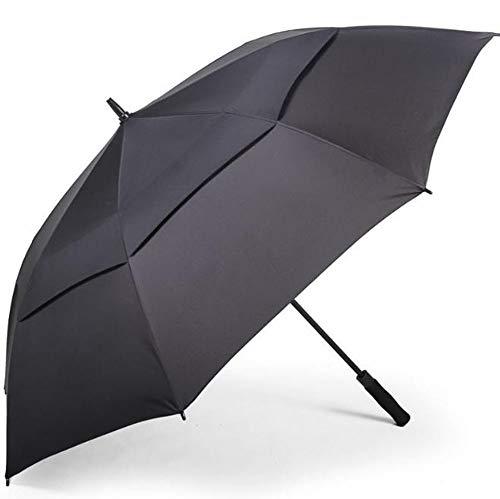 Parapluie Parapluie de golf double couche automatique pliable (Couleur : NOIR)