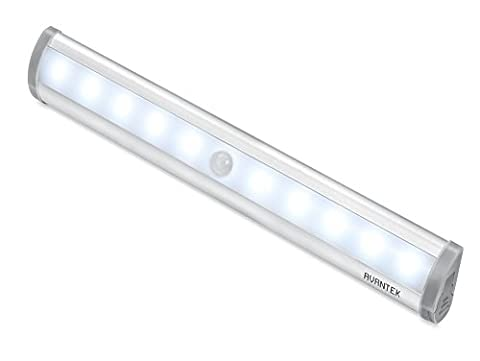 Lampe Led Pile AVANTEK ELF-L1 Lampe Détecteur de Mouvement Veilleuse 10 LED à Pile avec Bande Magnétique, Lampe Led Capteur Pour Placard, Escalier, Tiroir, Garage, Cusine, Salle de Bain, et Coin