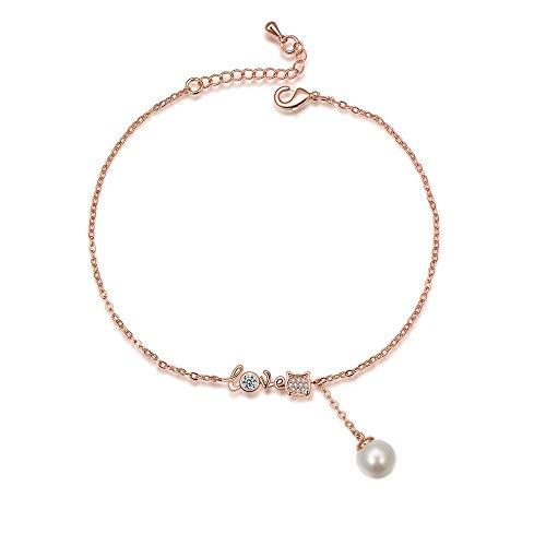 Lging Bracciale in Rame da Donna Bracciale Carino Zircone Micro Intarsiato da Donna Creativo Amore Semplici Perle Imitazione Miele Regali (Color : Rose Gold)