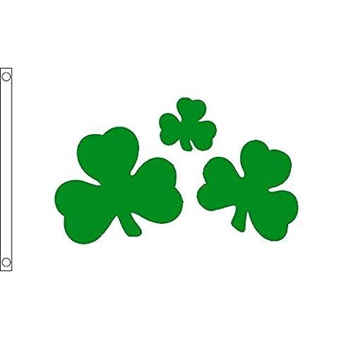 DRAPEAU TRÈFLE IRLANDAIS SHAMROCK 150x90cm - DRAPEAU DE L'IRLANDE 90 x 150 cm - DRAPEAUX - AZ FLAG