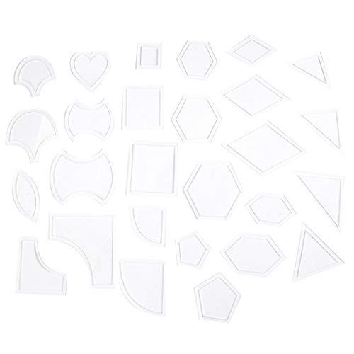 F-blue 27 Set Mixed Quilt Vorlagen Wiederverwendbare transparente Acryl-Muster Stencil Patchwork Styling Quilting Sewing Supplies -