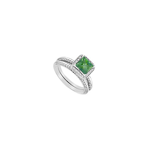 Princess Cut Created Emerald Engagement Ring with CZ Wedding Band in 14K White Gold 1.50 CT TGW