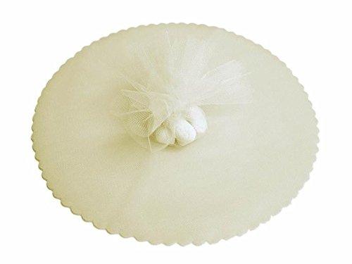 100x velo veli di fata tulle organza tondo veletti bomboniere fai da te confetti (avorio)