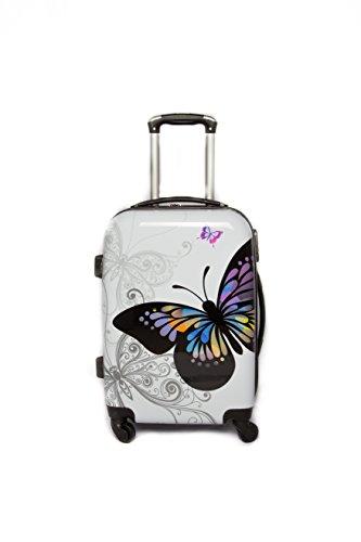 Bagaglio a mano ormi Trolley semirigido 4 ruote piroettanti compatibile voli lowcost fantasia farfalla/Bianca