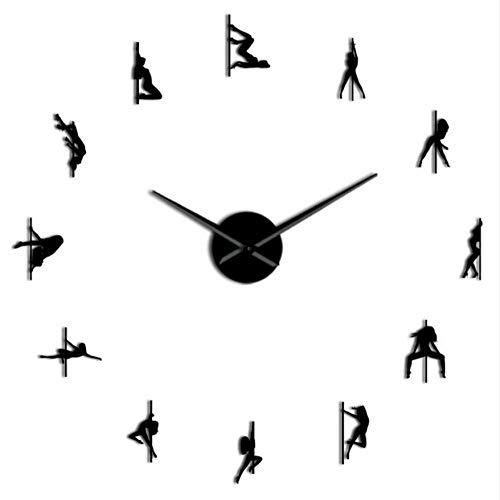 Wangcheng1 Pole Dance Rahmenlose 3D DIY Moderne Wanduhr Exotic Dance Kit Dekoration Mit Spiegel Zahlen Aufkleber Uhr Geschenk für Mädchen(37inch) - Mit Zahlen Uhr-kits