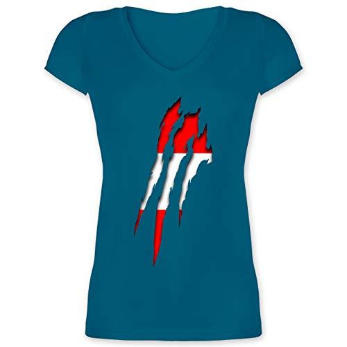 Länder - Österreich Krallenspuren - S - Türkis - XO1525 - Damen T-Shirt mit V-Ausschnitt
