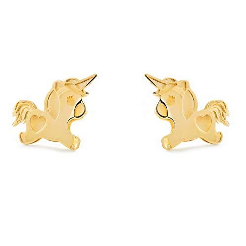 Orecchini per bambina unicorno - oro giallo 9k (375)