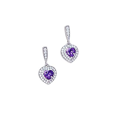Lanfan S925 pure silver plating three layers of platinum aaa swarovski transparent zircon + purple/pink zircon