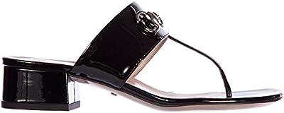 Gucci mujer zapatillas sandalias chanclas en piel nuevo crystall pintar buckle n