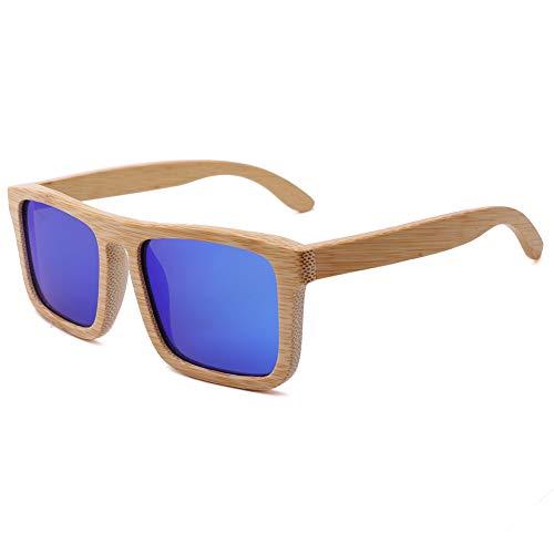 TOOSD Bambus Sonnenbrillen Retro Holzoptik-Brillen - Klassische Holzschirme Damen - Modische Brillen mit Etui polarisierte Gläser,D