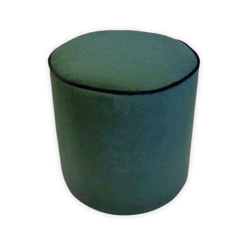 COTTON WOOD Pouf Rond Velours William - 35 x 35 cm - Vert émeraude avec Passepoil Noir