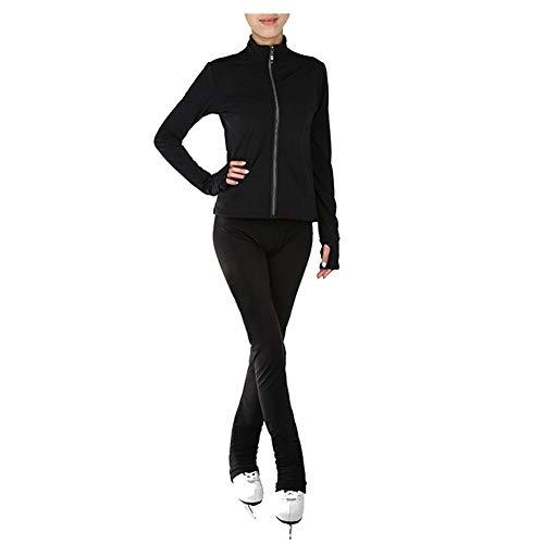 Wasserdicht Eiskunstlauf-Trainingsoutfit Damen Mädchen Rollschuh eng Jacke Gamaschen Trainingsbekleidung Einfarbig,Schwarz,XS