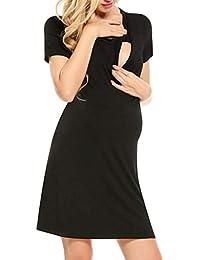 Vestido de Lactancia, SUNNSEAN Mujer Embarazo Ropa Verano Cruzado Diseño de Capa Premamá Maternidad de