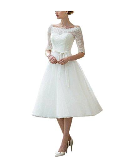 DreamyDesign Damen Chiffon Empire halbarm Hochzeitskleid Spitzelang Brautkleider DE38 Weiß