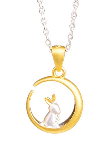NicoWerk Damen Silberkette mit Anhänger Hase aus 925 Sterling Silber Kaninchen Tier Matt Mond Rund Golden Verspielt SKE289