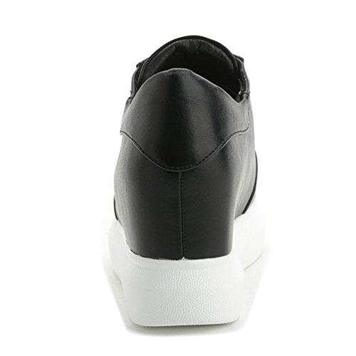 Damen Sportliche Plateau Sneaker-Wedges Helle Sohle Sneakers Keilabsatz Schwarz