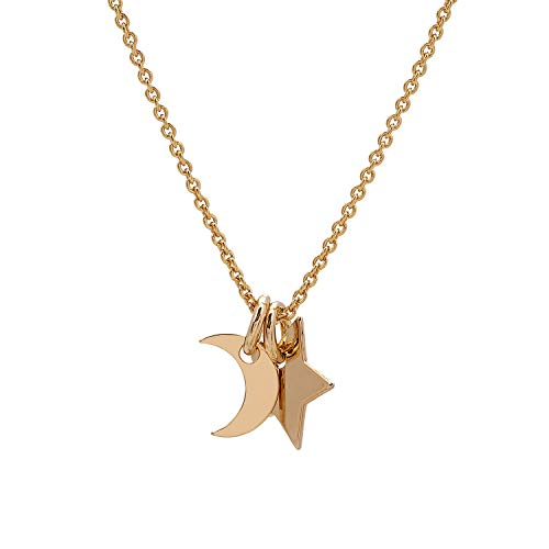 Malaika Raiss Halskette Damen Gold Mond/Stern Charm-Duo - Zarte Kette hübsches Anhängerdoppel 24 Karat Vergoldet Hochglanz - N3167b (24 Kette Gold Karat)
