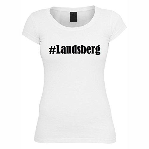 T-Shirt #Landsberg Hashtag Raute für Damen Herren und Kinder ... in den Farben Schwarz und Weiss Weiß