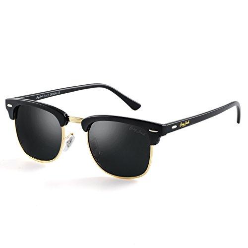 GREY JACK Klassische Polarisierte Halber Rahmen Gespiegelte Sonnenbrille Modebrille für Männer Frauen Matt Schwarz Rahmen Schwarz Linse