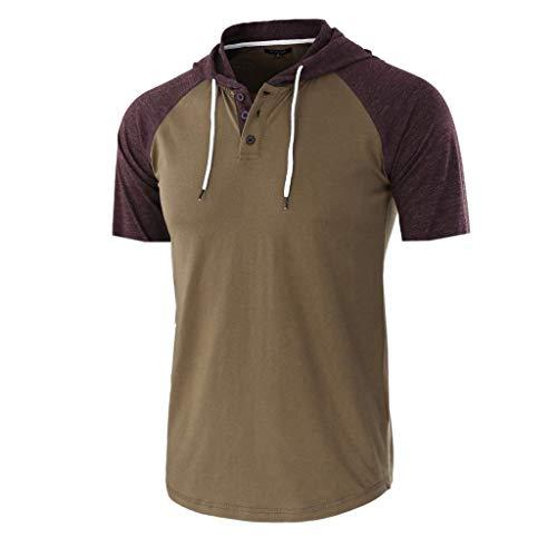 BHYDRY Männer Casual Sommer Patchwork Kordelzug Kurzarm Hoodie T-Shirt Top Bluse