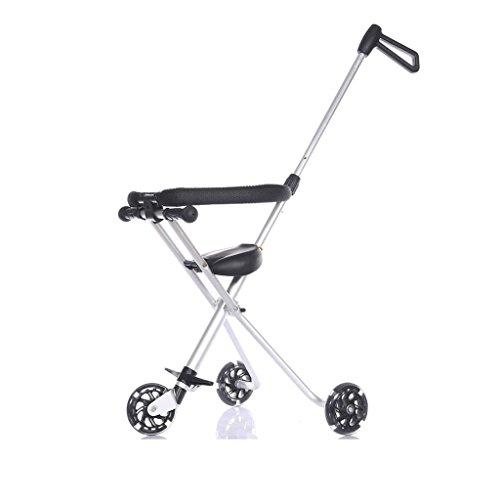 Poussette bébé ZHAOJING Tricycle se pliant en aluminium de tricycle de bébé des enfants simple et facile (Couleur : Silver)