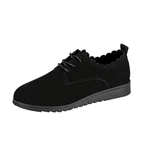 feiXIANG Damen Schuhe Flache Kurze Stiefel Schnürschuhe Mode Casual Knöchel Sportschuhe Freizeitschuhe (Schwarz,36)