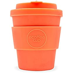 Ecoffee Cup Mrs Mills - Taza de café de bambú Reutilizable, 250 ML, Color Naranja Brillante