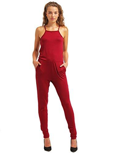 Jumpsuit für Damen in Bordeaux-Rot von ★The Style Room ★ Einfarbiger, schulterfreier Overall