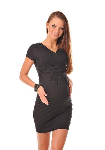 Purpless Damen Kurz Sommerkleid Umstandskleid Schwangerschaft Kleid Kurzarm 8415 (36, Black) (Sommer-monitor Touch Baby)