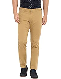 Parx Solid Cotton Khaki Tapered Trouser