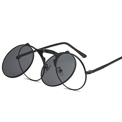 ZHOUYF Sonnenbrille Fahrerbrille Retro Flip Herren Sonnenbrille Damen Runden Metallrahmen Sonnenbrille Scharnier Design Geschwungene Brillenbeine Uv400, P