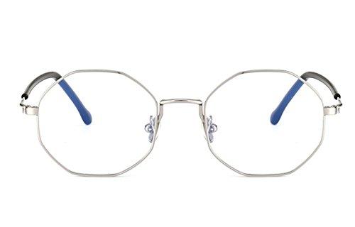 Fashion Glasses-brillenfassungen Flacher Spiegel Metall Retro Strahlung Gläser, silberner Rahmen