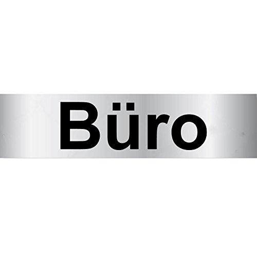 "Türschild PVC Hinweisschild \""Büro\"" 160mm x 40mm Silber/Schwarz selbstklebend"