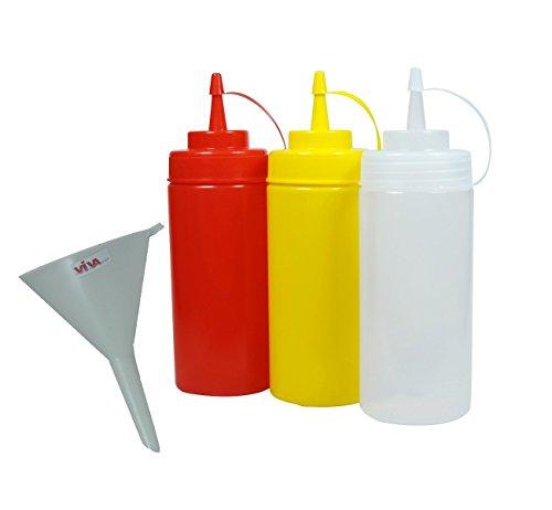 Viva Haushaltswaren 3 Quetschflaschen 0,45L für Ketchup Senf Mayonnaise inkl. einem Trichter Ø 9 cm
