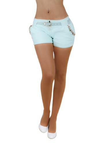 Fashion4Young 5847 Damen Sexy Stretch-Stoff Hotpants Short Kurze Hose verfügbar in 5 Gr. 4 Farben (L = 40, Mint)