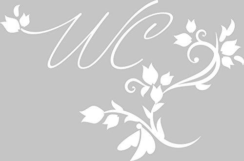 GRAZDesign 780038 Tür-Aufkleber WC Toilette Blumen Ranken Sprüche | Bad-Tattoo als Tür-Schild – Selbstklebend