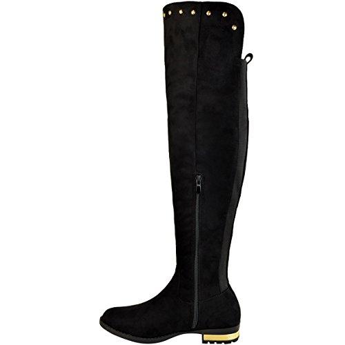 Fashion Thirsty donna elasticizzato SOPRA AL GINOCCHIO ADERENTI, alti stivali Borchia Tacco Basso da moto taglia Nera Pelle Scamosciata