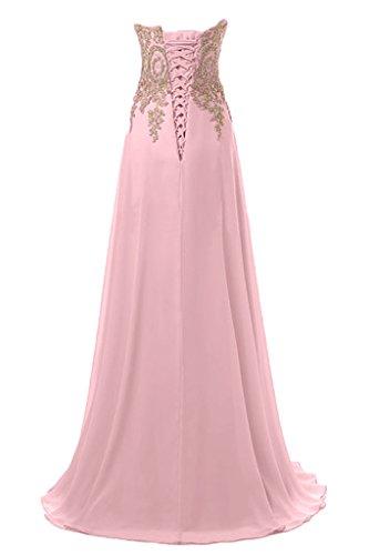 Sunvary Glamour Rund Stickerei Steine A-Linie Chiffon Traeger Abendmode Lang Abendkleider W-Lilac
