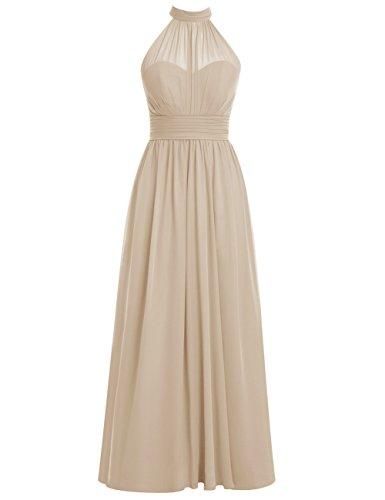 Dresstells Damen Jugendlich Brautjungfernkleider Chiffon Abiballkleider Champagner