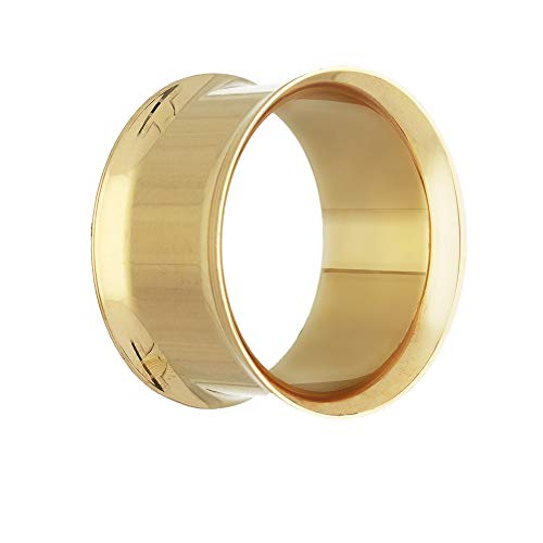 Gold Double Flared Stahl Flesh Tunnel 26 mm -