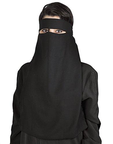 Niqab einlagig - Hijab Gesichtsschleier Burka Khimar Islamische Gebetskleidung (schwarz)
