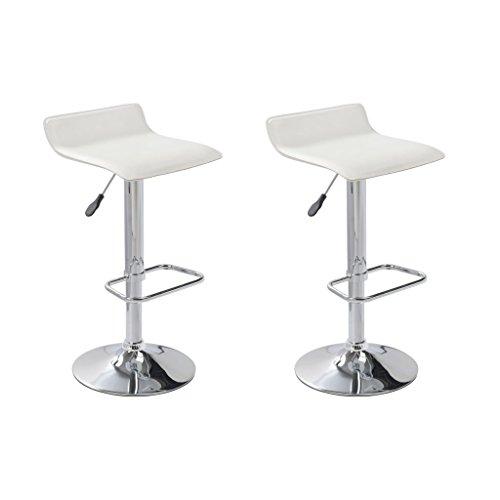vidaXL 2 tabourets chaises de bar simili cuir blanc design Wave Repose-pieds NEUF