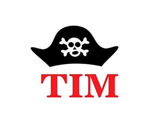 r mit Name Pirat Pirate Hut Cap in Flex, Glitzer, Flock, Effekt in Wunschgröße ()